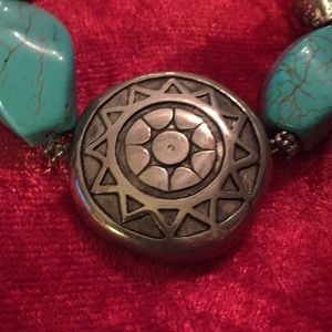 """Silver & Turquoise Necklace Vintage, 18"""""""